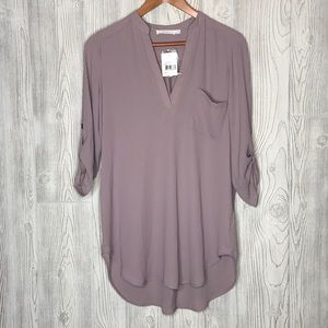 Lush Perfect Roll Tab Sleeve Tunic Quail NWT